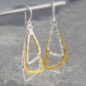 Hammered Drop Triangular Gold And Silver Earrings