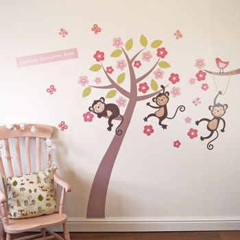 Pastel Monkey Blossom Tree Wall Stickers