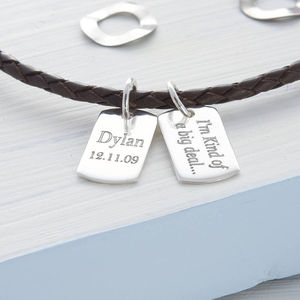 Personalised Silver Mini Dog Tag Leather Necklace - men's jewellery