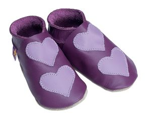 Leather Baby Shoes Lovehearts Grape/Mauve