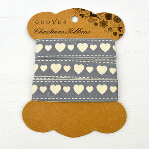 Grey Hearts Ribbon - cards & wrap