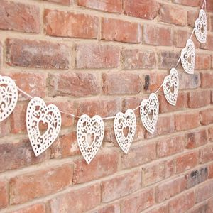 Wedding Cream Heart Bunting - room decorations