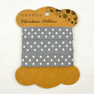 Grey Polka Dot Ribbon - cards & wrap