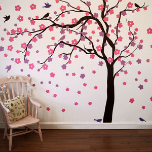 Summer Blossom Tree Wall Stickers - bedroom