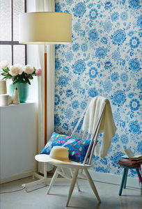 Light Blue Folklore Chintz Wallpaper By Pip Studio