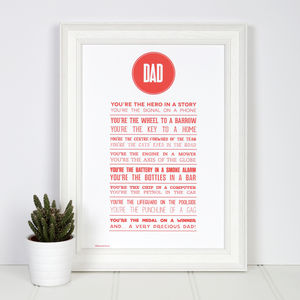 Dad Metaphor Poem Print