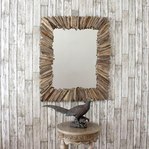 Rectangular Spoke Driftwood Mirror