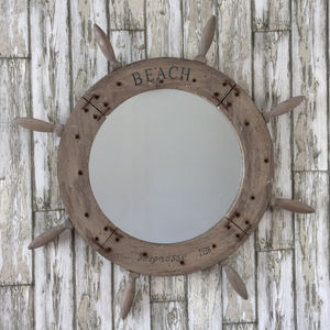 Round Wooden Helm Mirror