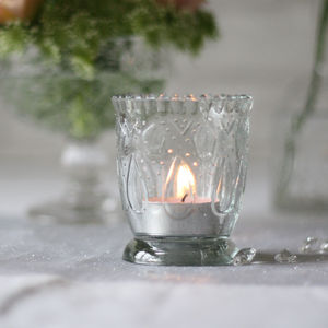 Footed Pressed Glass Tea Light Holder - table decorations