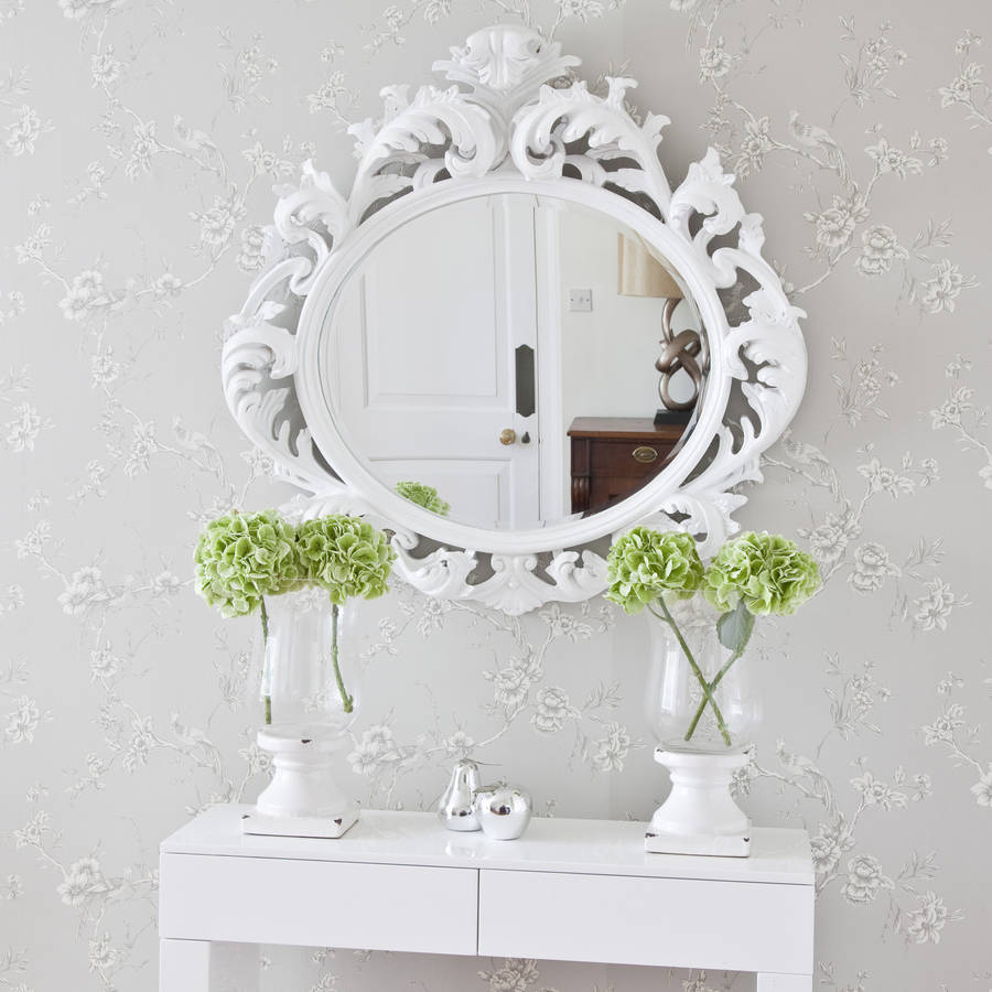 Sale save 40 white baroque round mirror by decorative for Fancy white mirror