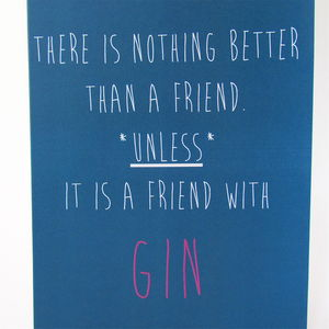 Gin Friendship Card - cards for friends