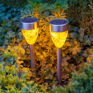 Set Of Four Orange Prism Solar Stake Lights - lights & lanterns