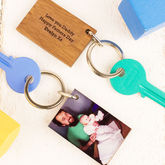 Personalised Wood And Acrylic Photo Key Ring - father's day