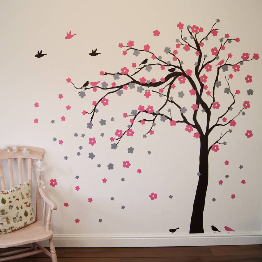 Floral blossom tree wall stickers by parkins interiors for Stickers para pared decorativos