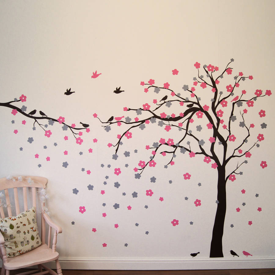 Floral Blossom Tree Wall Stickers. As Shown Direction. Mirrored Direction.  Shown With Additional Branch