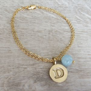 Bronze Initial And Birthstone Bracelet