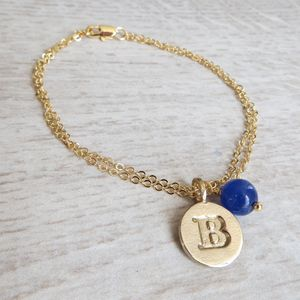 Bronze Initial And Birthstone Bracelet - women's jewellery