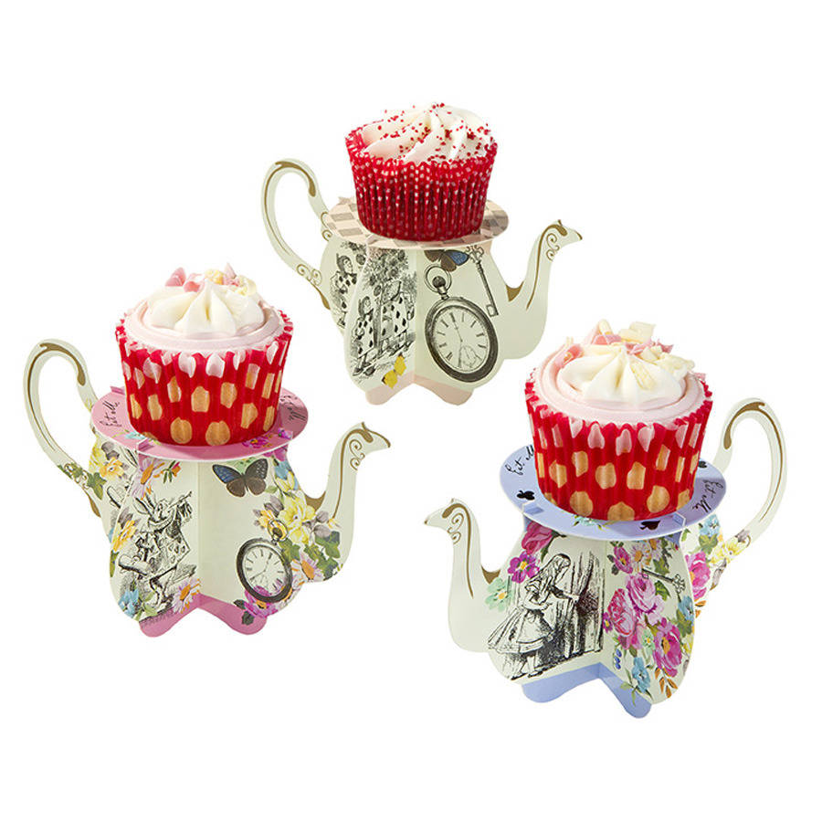 alice in wonderland teapot cupcake stands by postbox party ...