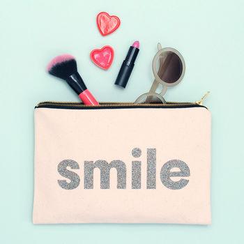 'Smile' Glitter Pouch
