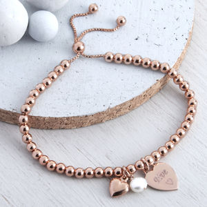 Personalised Rose Gold Ball Slider Bracelet - women's jewellery