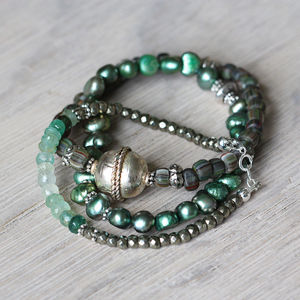 Emerald And Pearl Stacking Bracelets - bracelets & bangles