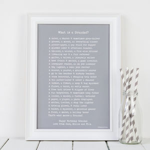 Personalised Grandad Grandpa Gramps Print With Poem - gifts for grandfathers