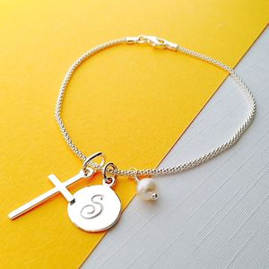Silver Cross Birthstone Personalised Bracelet - flower girl jewellery
