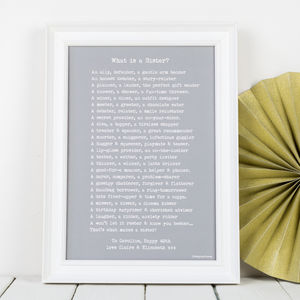 Personalised Sister Print With Sister Poem Typewriter