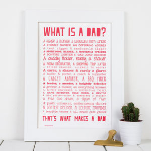 'What Is A Dad?' Typographic Poem Print - prints & art sale