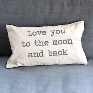 'Love You To The Moon And Back' Cushion - bedroom