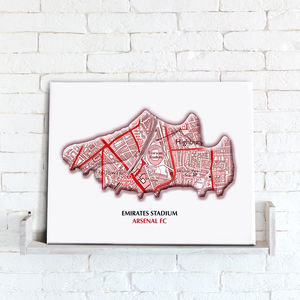 Favourite Football Team Map Canvas Print - activities & sports