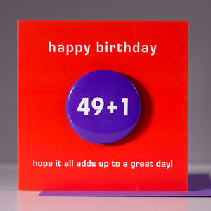 50th Birthday Card With A Badge - birthday cards