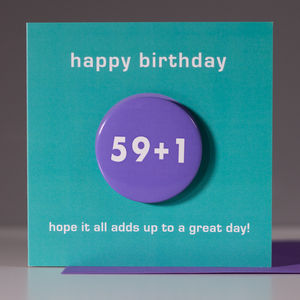 60th Birthday Card With A Badge To Wear - birthday cards