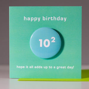 100th Birthday Card With A Badge To Wear