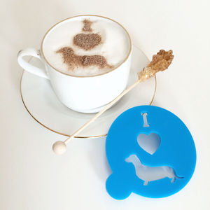'I Love Sausage Dogs' Coffee Stencil - baking