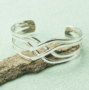 Silver Criss Cross Cuff Bangle