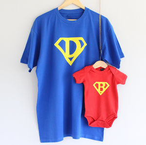 Dad And Baby Superhero T Shirt Set - children's dad & me sets