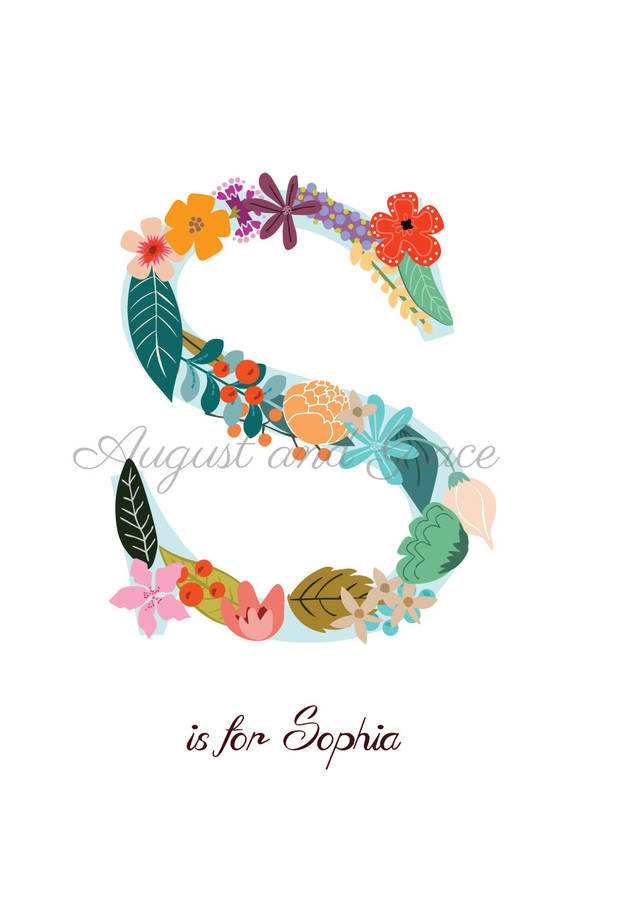 personalised floral flowers name art print by august  grace, Natural flower