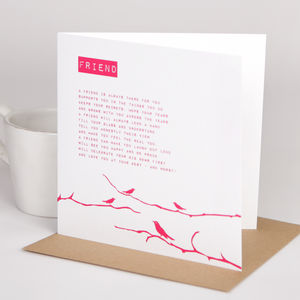 'Friend' Poem Card - thank you cards
