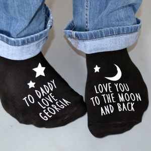 Love You To The Moon Glow In The Dark Socks - men's fashion