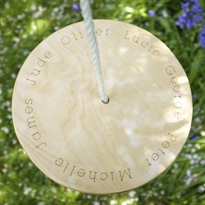 Personalised Wooden Plate Swing - outdoor games & activities