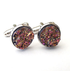 Gold And Pink Faux Druzy Cufflinks