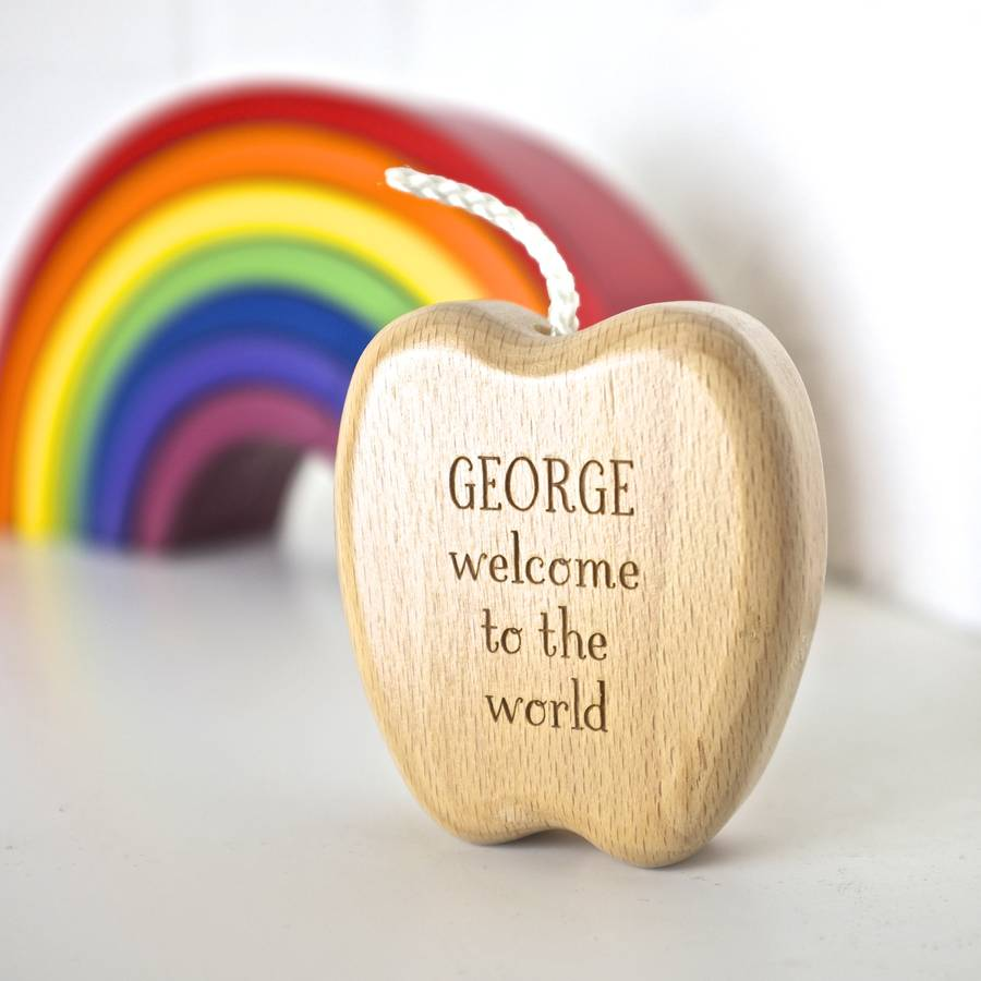 personalised wooden apple keepsake rattleauntie mims