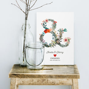 Floral Ampersand Engagement Or Wedding Print - personalised