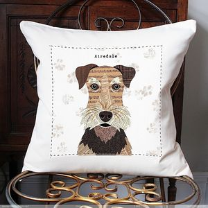 Airedale Personalised Dog Cushion Cover - cushions