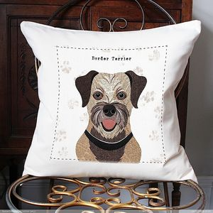 Border Terrier Personalised Dog Cushion - cushions