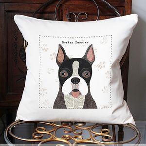 Boston Terrier Personalised Dog Cushion Cover
