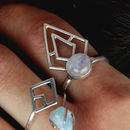 Large Sterling Silver Boho Triangle Moonstone Ring