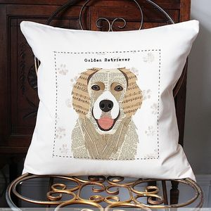 Golden Retriever Personalised Dog Cushion Cover - cushions
