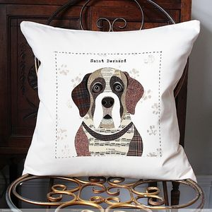 Saint Bernard Personlalised Dog Cushion Cover